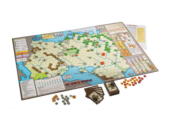 Игровое поле и компоненты игры Ни Шагу Назад! Великая Отечественная Война